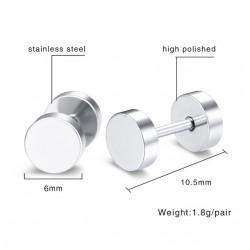 Vnox Stainless Steel Earrings Double Round Bolt Stud Earrings for Men Women Punk Gothic Silver Ear S
