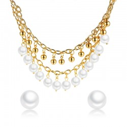 Vnox Elegant Women Jewelry Set Choker Necklace Stud Earring Imitation Pearls Charms Gold Color Stain