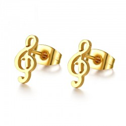 Golden music note stud earrings
