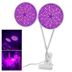 290 Led E27 Plant Grow Light Dual Lamp Hydroponic Full Spectrum With Desk Clip
