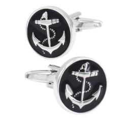 Anchor round cufflinks