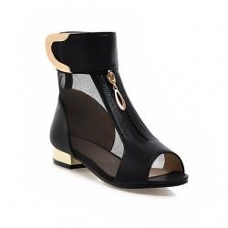 Metalowe Ozdoby Siatkowe Sandały Botki