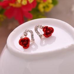 Herz & Rose Blume Kristall Zucht Ohrringe