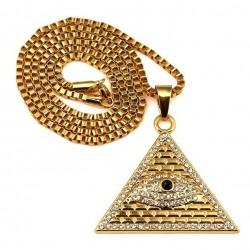 Kryształowa Egipska Piramida & Oko Wisiorek Naszyjnik Unisex