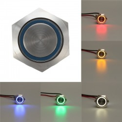 12V 5 Pin 19mm Led Light Stainless Steel Push Button Momentary Switch Silver