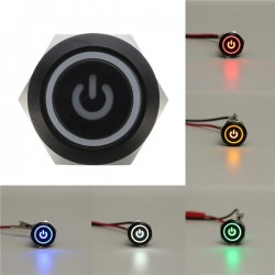 12V 5-pin 19mm metal push button - momentary power switch with LED - waterproof switch - Black