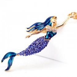 Crystal mermaid keychain keyring