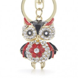Cute Owl Crystal Key Chains Rings Holder For Women Flower Purse Bag Buckle Pendant For Car Keyrings