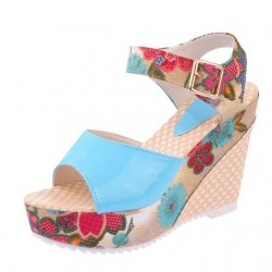 Flower pattern wedge heel sandals