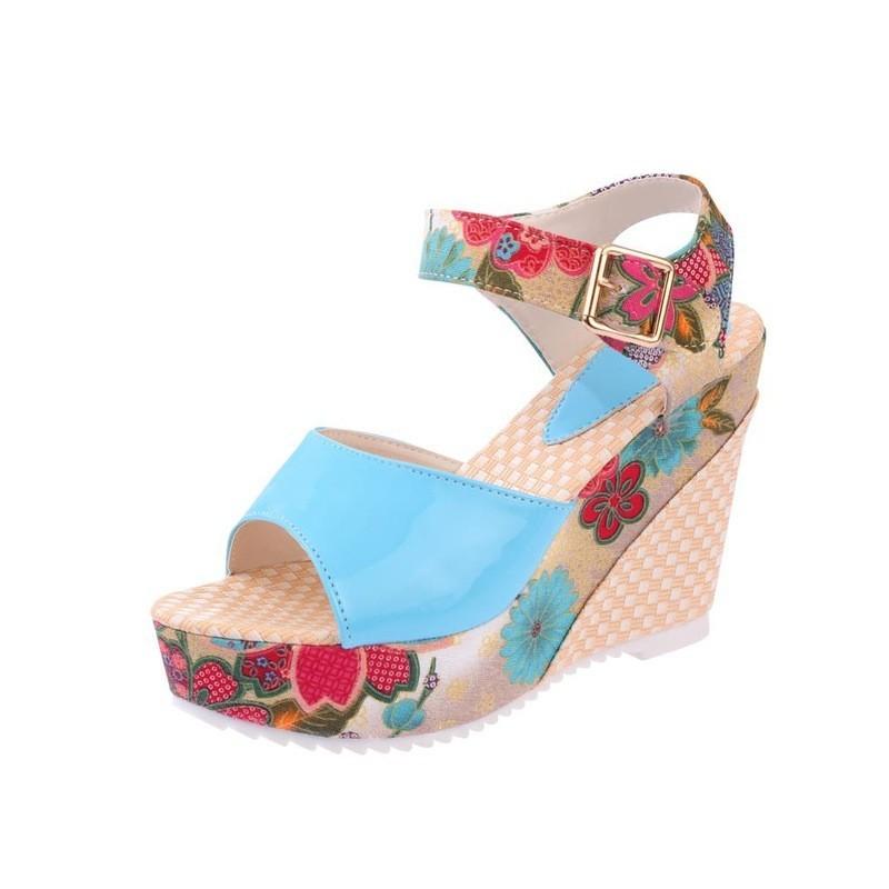 918ee686e096e 2018 Women Sandals Summer Platform Wedges Casual Shoes Woman Floral Super  High Heels Open Toe Slippe