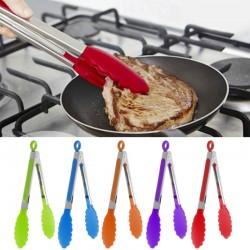 Pinzas para cocinar de acero inoxidable y silicona