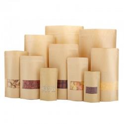 Sacs marrons avec glissière et section transparente 50 pz
