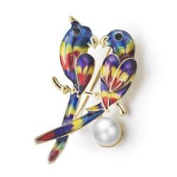 Podwójne papugi & perła broszka