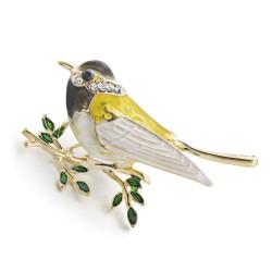 Oriole vogel bergkristal & email broche