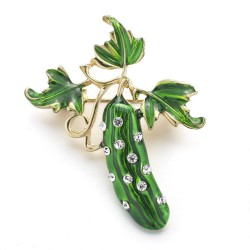 Green crystal cucumber brooch
