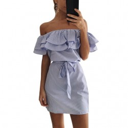 Off shoulders strapless striped ruffles mini dress
