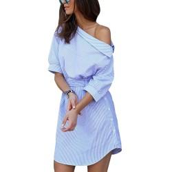 Plus size off shoulder gestreepte jurk