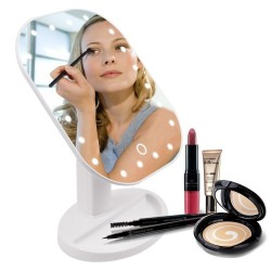 Folding adjustable LED make-up touch mirror