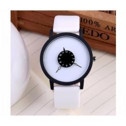 Skórzany kwarcowy zegarek unisex