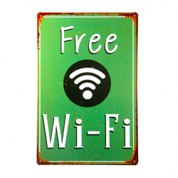 Weinlese metalen poster Free Wifi