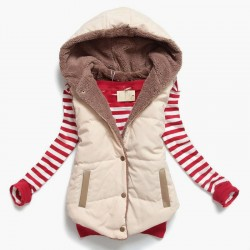 Slim-design warm jacket hooded vest bodywarmer cotton