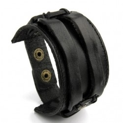 Bracelet unisex de cuir double corde