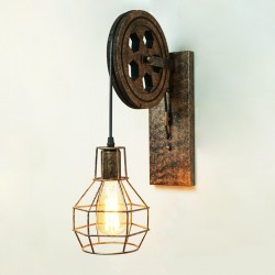 Retro pulley wall light lamp
