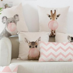 Pink printed pillowcase cushion cover