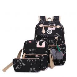 USB ładowarka płócienny szkolny plecak 3 szt zestaw