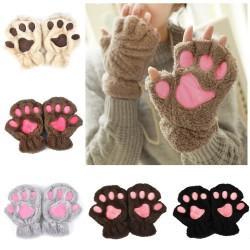 Bear paw mittens - plush fingerless gloves