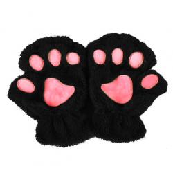 Bear paw mittens plush fingerless gloves