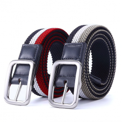 Elastic reversible woven canvas belt