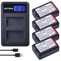 NP-FW50 NP battery & LCD USB dual charger for Sony A6000 5100 a3000 a35 A55 a7s II alpha 55 alpha 7 A72 A7R Nex7 NE 4 pcs