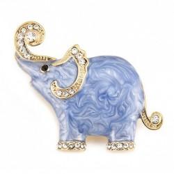 Broche elefante esmalte y cristales