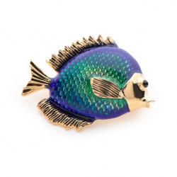 Blue fish women's brooch