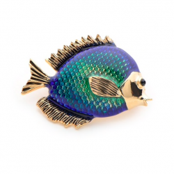 Blue fish women's brooch
