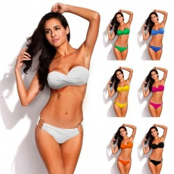 Metal ring push up bikini set