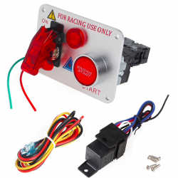 Bouton de start pour voiture de competition 12V Red LED