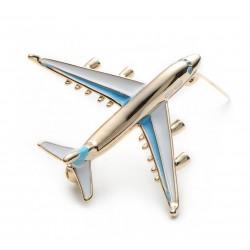 Metalowy jumbo samolot broszka