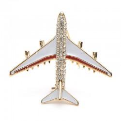 Kristallen vliegtuig broche