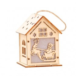 Świąteczny świecący LED drewniany domek