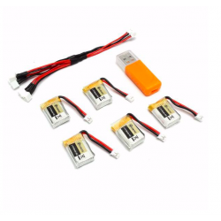 Set chargeur batterie pour Eachine RC Quadcopter E010 E010C 3.7V 150MAH 45C USB5 pcs