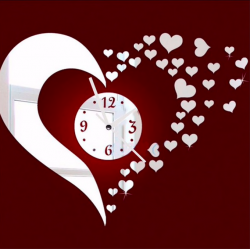 3D mirror heart & clock wall sticker