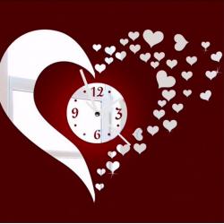 Adhesivo de pared espejo corazòn y reloj 3D