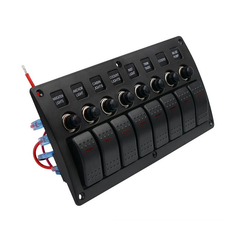 12V LED 8 gang car waterproof switch panel with fuse