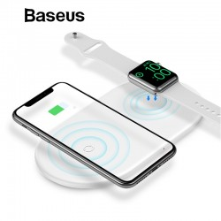 2 en 1 - Baseus 10W Pad de carga inalámbrica rápida para iPhone X - XS Max - XR Apple Watch 4/3/2 - Samsung S8 / S9