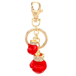 Boxing gloves crystal keychain keyring