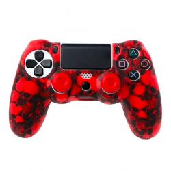 PS4 Pro Slim Kontroler czaszka silikonowa obudowa gamepada etui & 2 joystick czapeczki