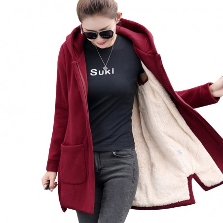 Long hooded coat fleece jacket