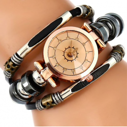 Triple retro leather bracelet watch